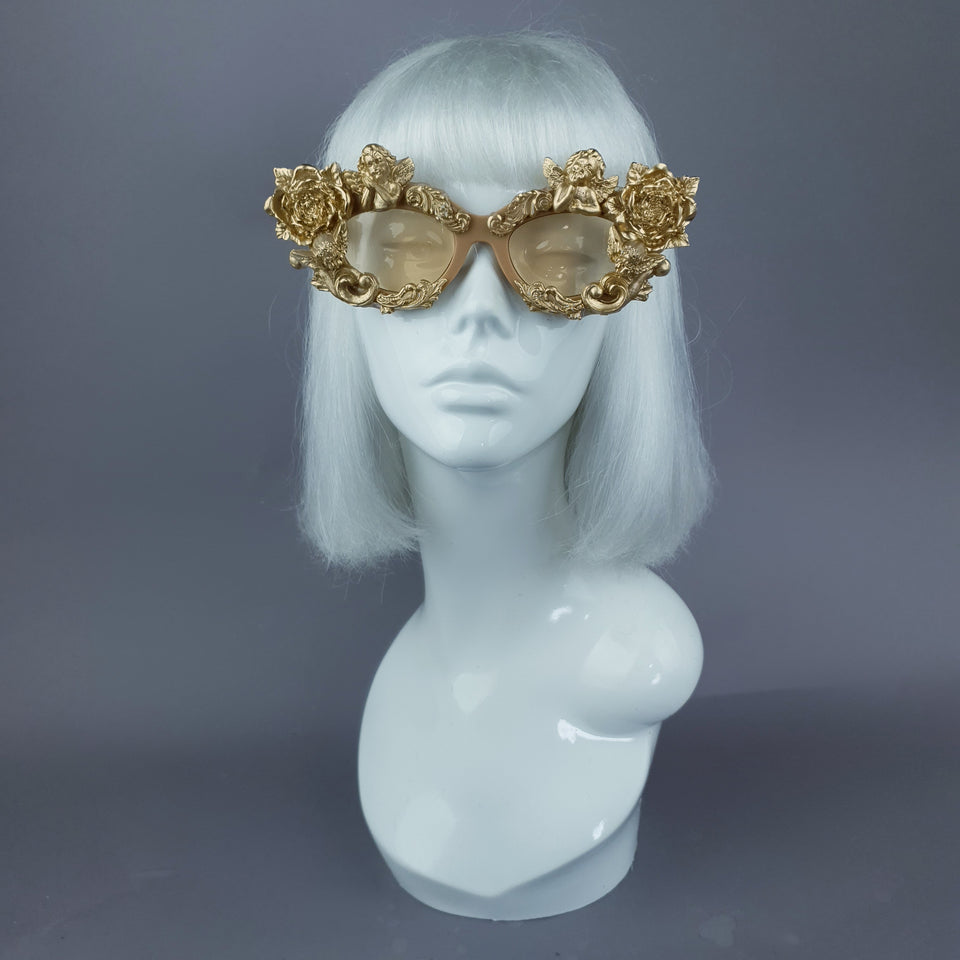 """Immortal"" Gold Angel, Rose & Filigree Catseye Sunglasses"