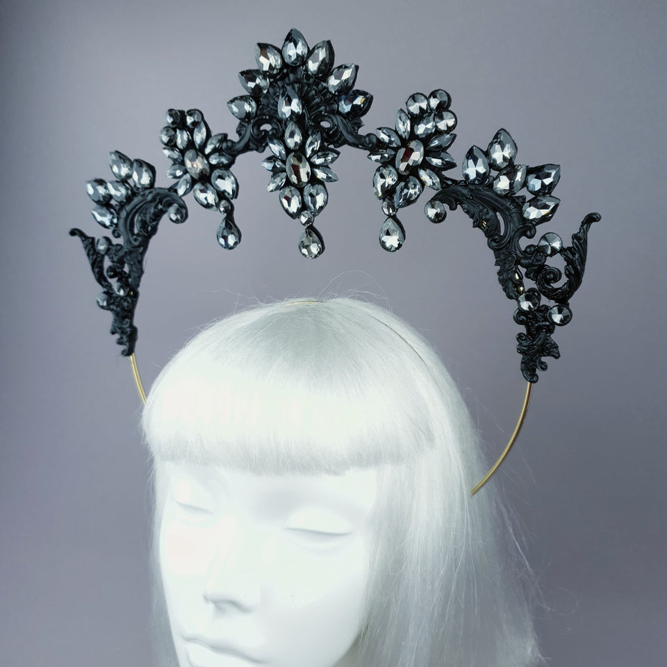 Black Gothic Filigree & Diamante Jewel Halo 60