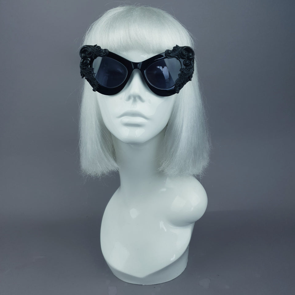 """Amara"" Black Filigree & Scissors Catseye Sunglasses"
