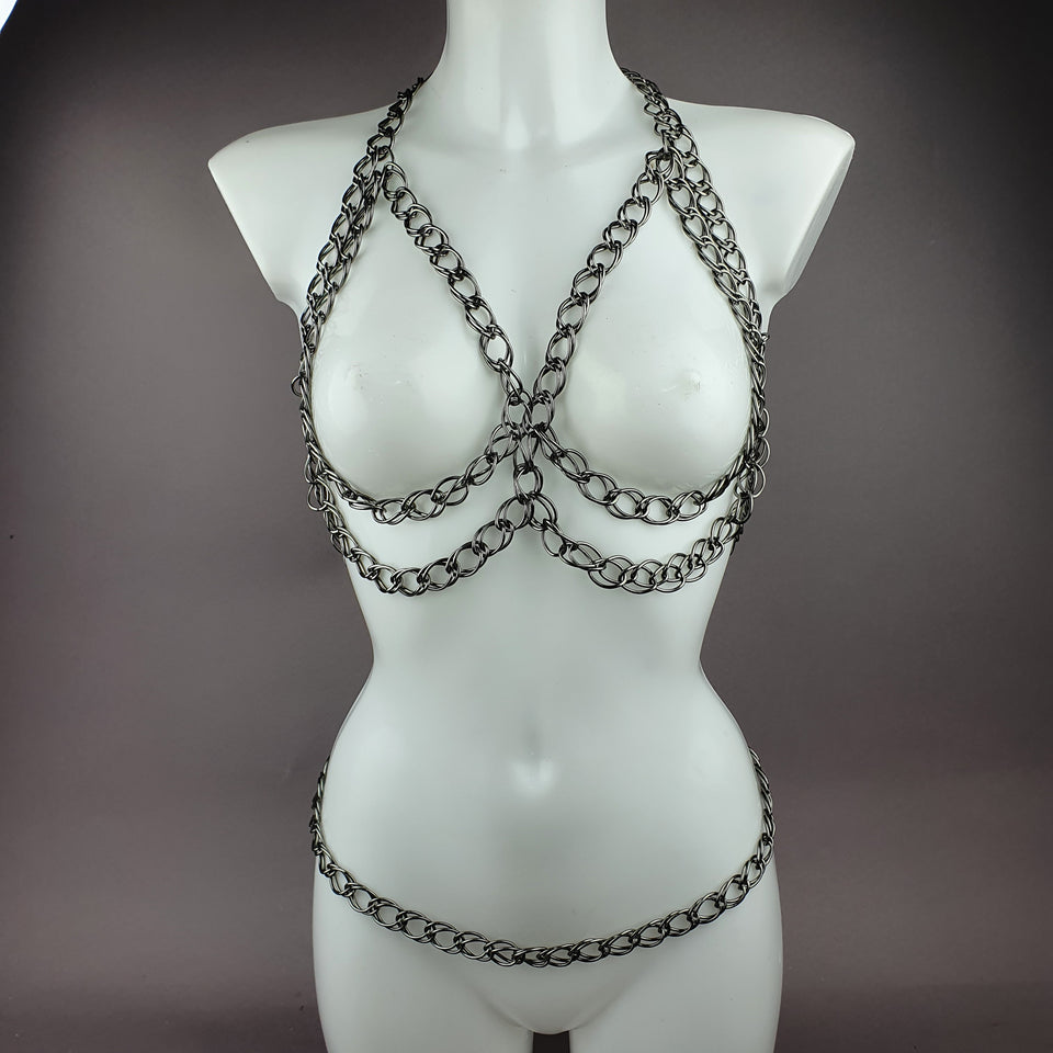 """Incatenato"" Dark Grey Chain Jewellery Harness"