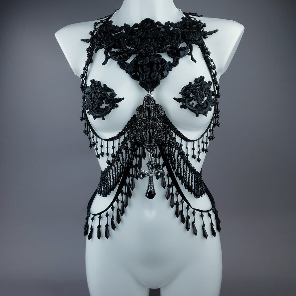 """Vasilissa"" Black Filigree & Beading Jewellery Harness with Nipple Pasties"