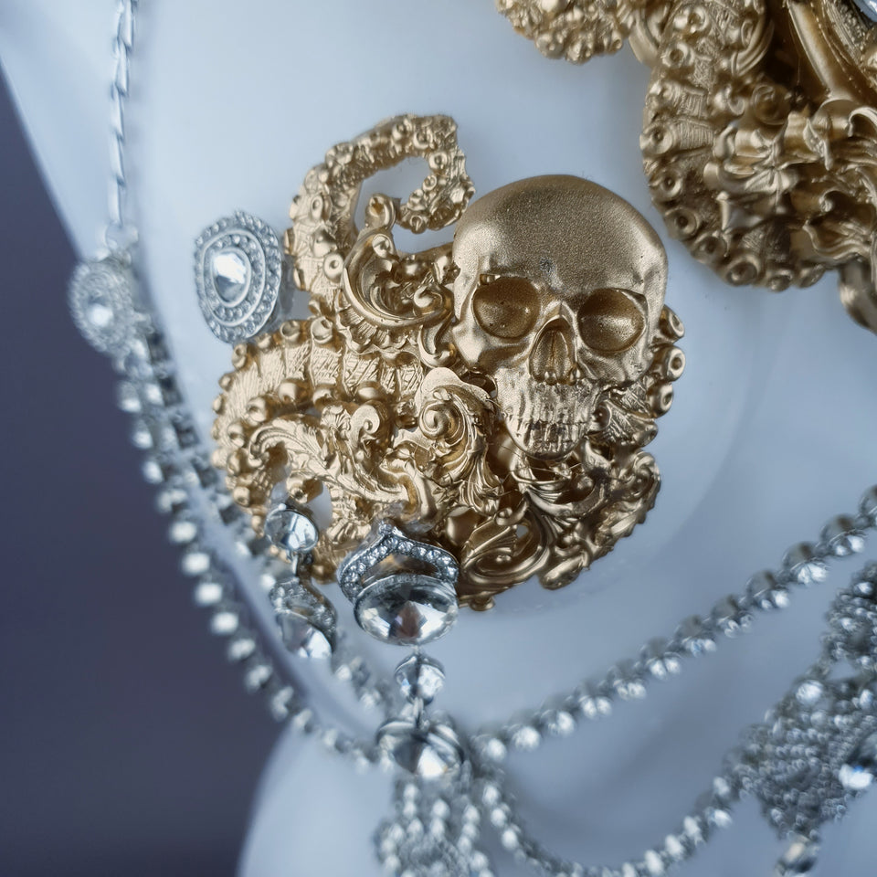"""Salome"" Gold Diamante Filigree Jewellery Harness with Nipple Pasties"