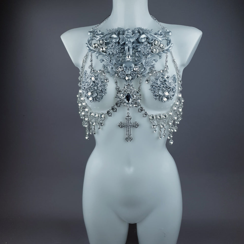"""Nymphodora"" Silver Diamante Filigree Jewellery Harness with Nipple Pasties"