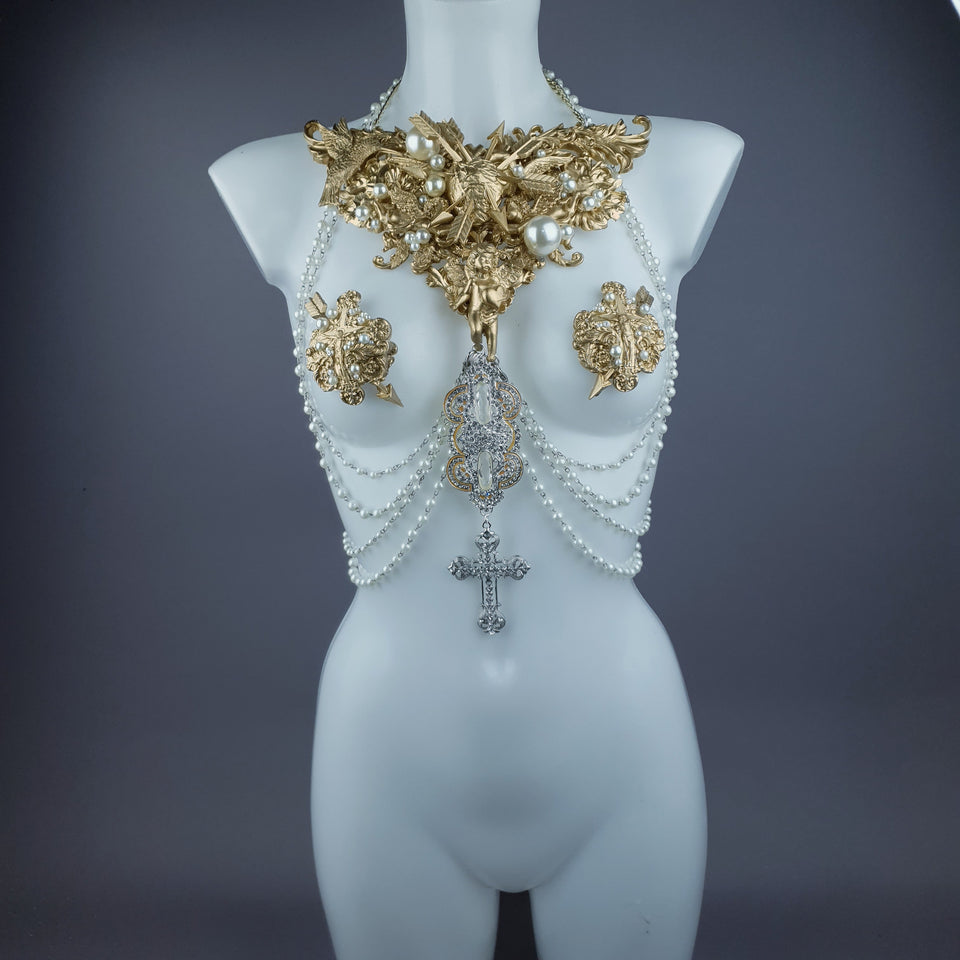 """Yeosin"" Gold & Pearl Filigree & Beading Jewellery Harness with Nipple Pasties"