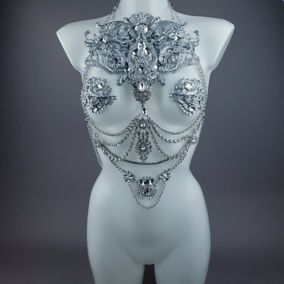 """Deusa"" Silver Diamante Filigree & Beading Jewellery Harness with Nipple Pasties"