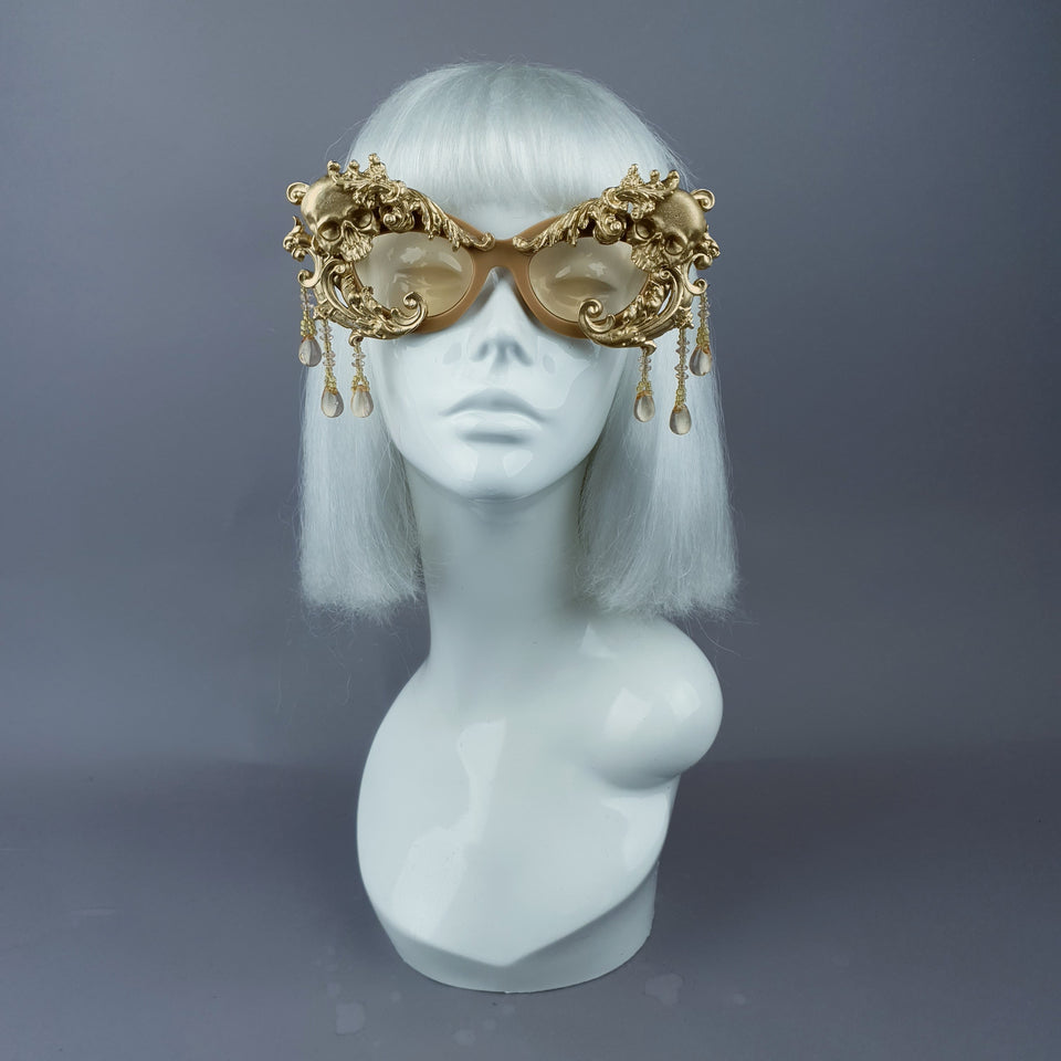 """D'or"" Gold Skull & Filigree, Beading Catseye Sunglasses"