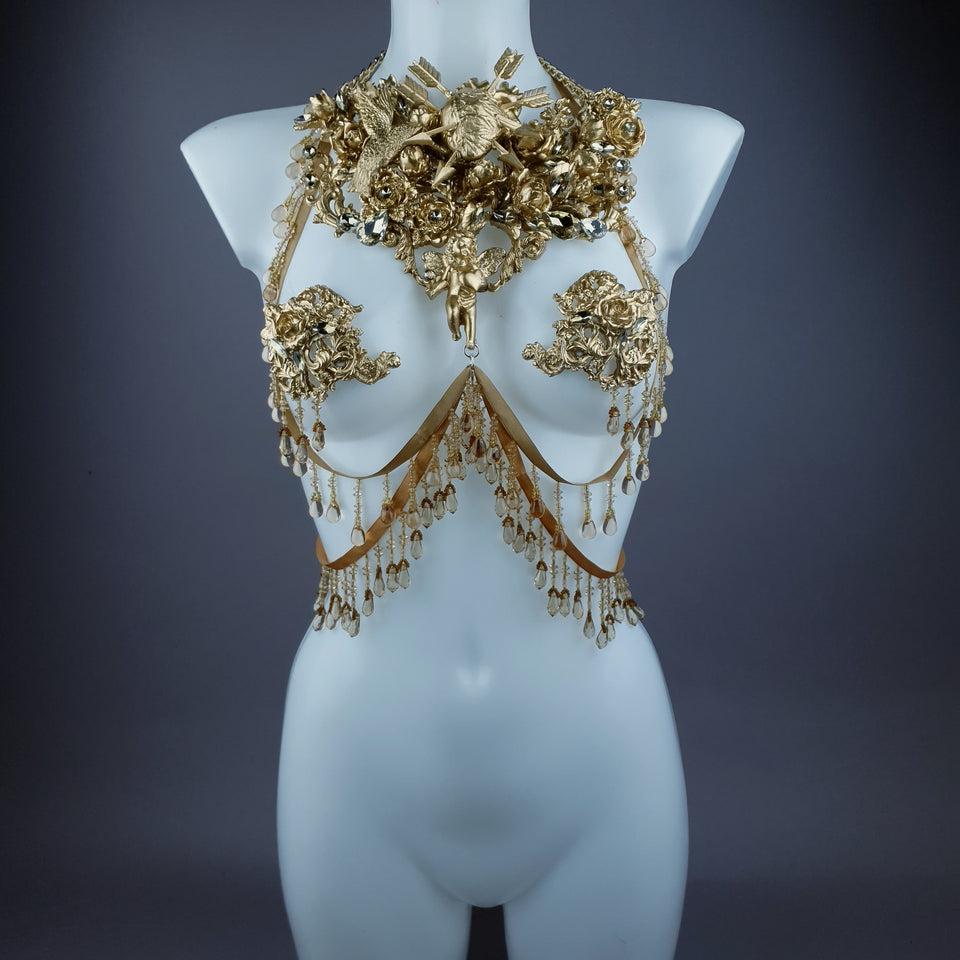 """Sacris"" Gold & Jewel Filigree & Beading Jewellery Harness with Pasties"
