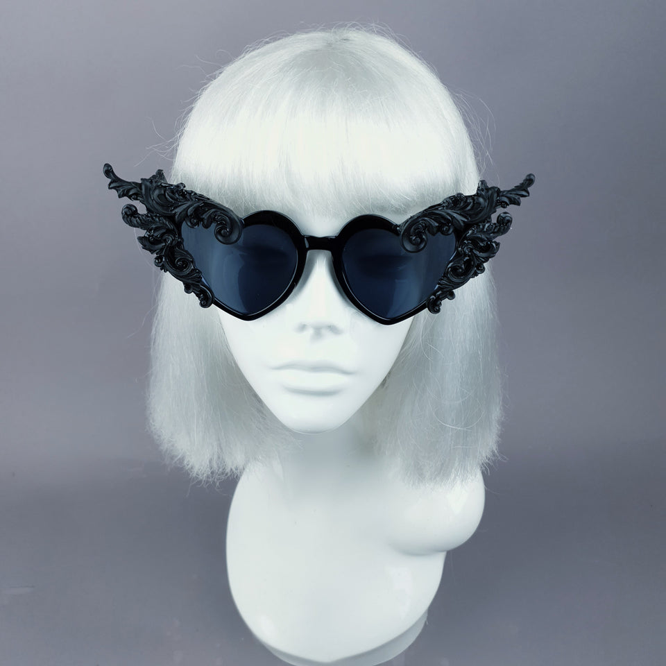 """Ozizira"" Black Filigree Heart Shaped Sunglasses"