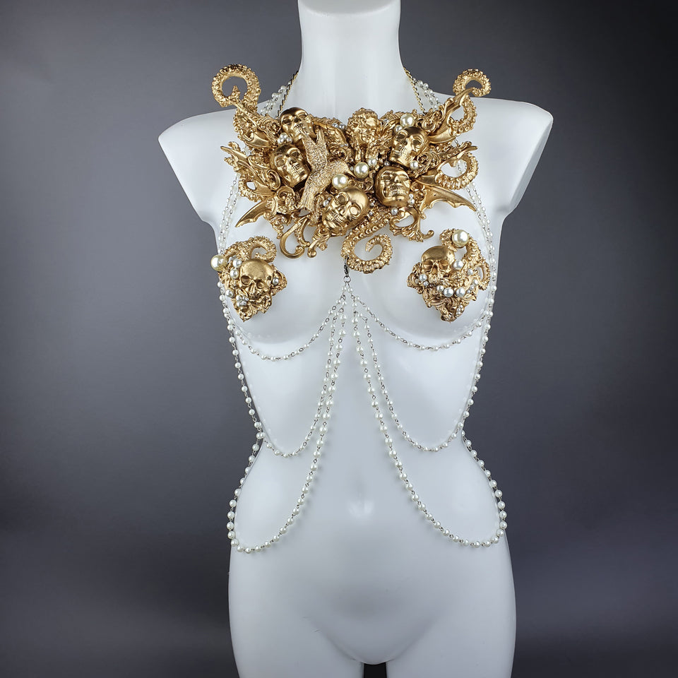 """Zlo"" Gold & Pearl Filigree & Beading Jewellery Harness with Nipple Pasties"