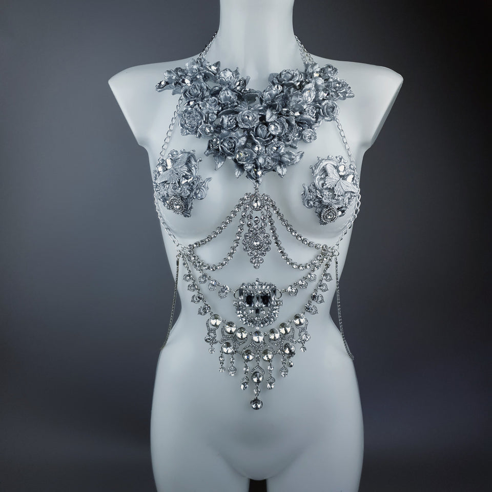 """Merayu"" Silver Diamante Filigree Jewellery Harness with Pasties"