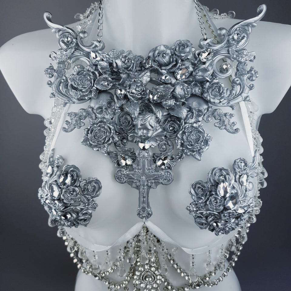 """Seduir"" Silver Diamante Filigree Jewellery Harness with Pasties"