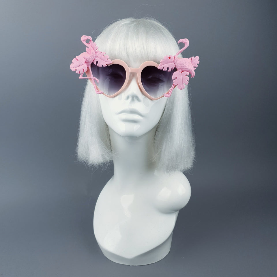 """Fenicottero"" Pink Flamingo & Leaf Heart Shaped Sunglasses"