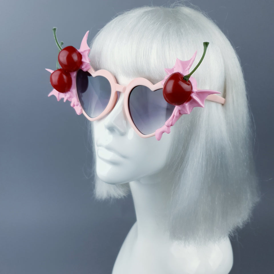 """Tricksy"" Pink Bat Wing & Cherry Heart Shaped Sunglasses"