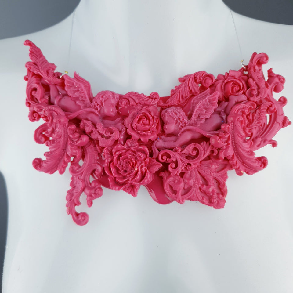 """Isidora"" Pink Filigree Necklace"