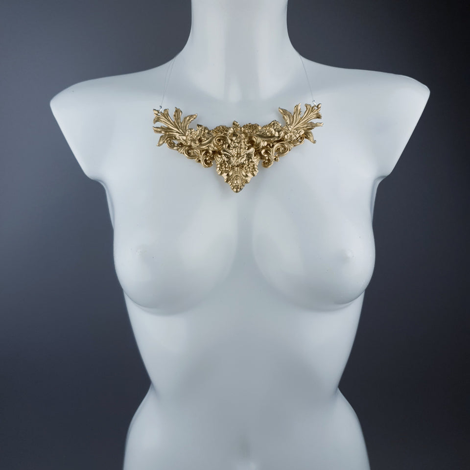 """Keyne"" Gold Filigree Necklace"