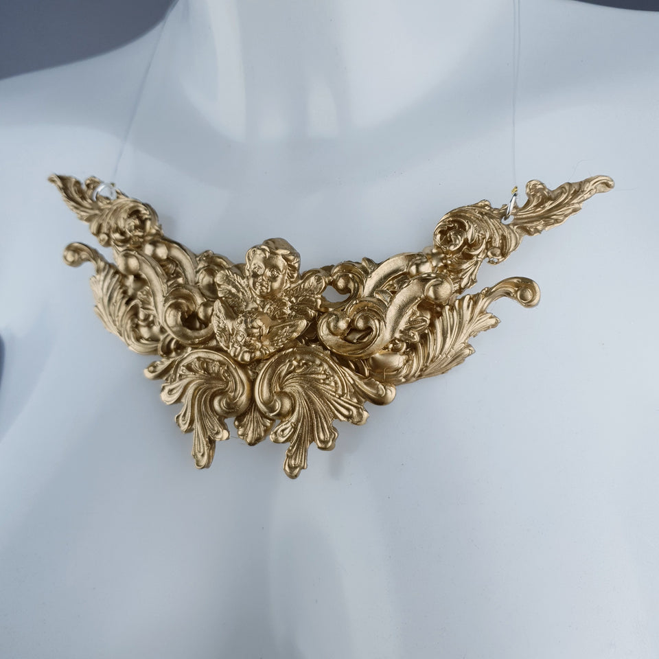 """Anysia"" Gold Filigree Necklace"
