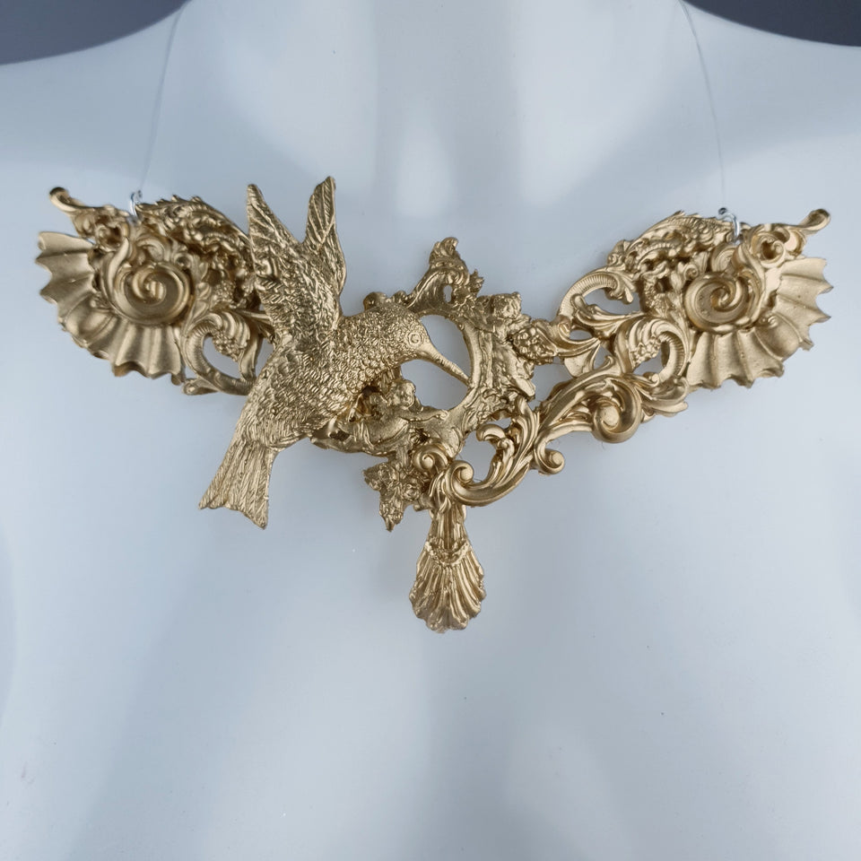 """Bibiana"" Gold Filigree Necklace"