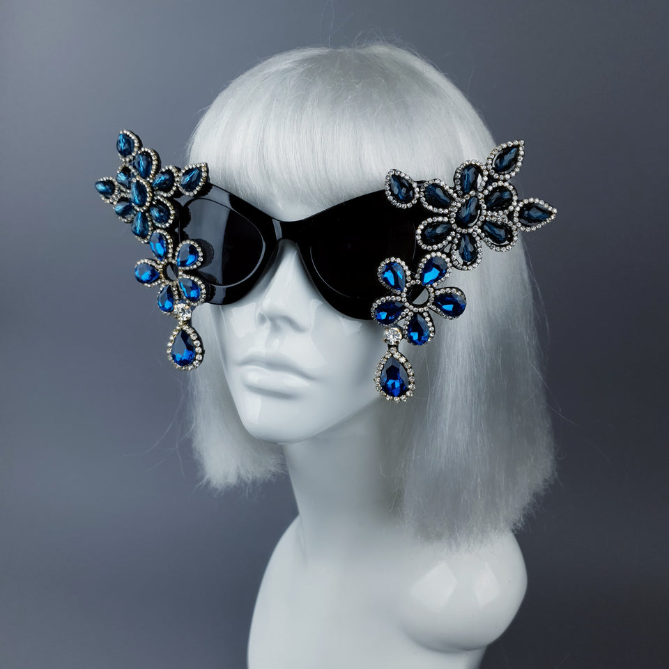 """Exxtra"" Blue Diamante Jewel Cats Eye Sunglasses"