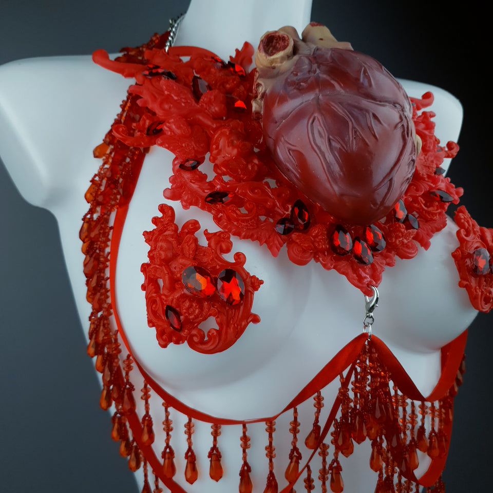"""Louvri"" Red Anatomical Heart Diamante Filigree Jewellery Harness with Pasties"