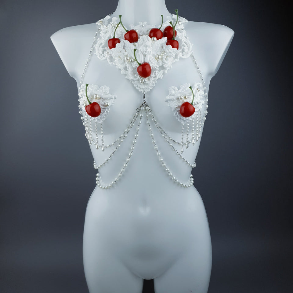 """Budino"" Cherry & Cream  Filigree & Jewellery Harness with Pasties"