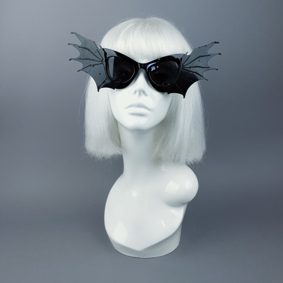 """Devour"" Black Bat Wing Catseye Sunglasses"