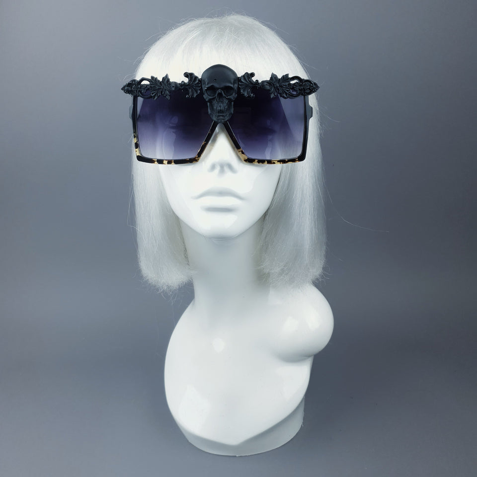 """Crowley"" Black Skull Filigree Unisex Sunglasses"