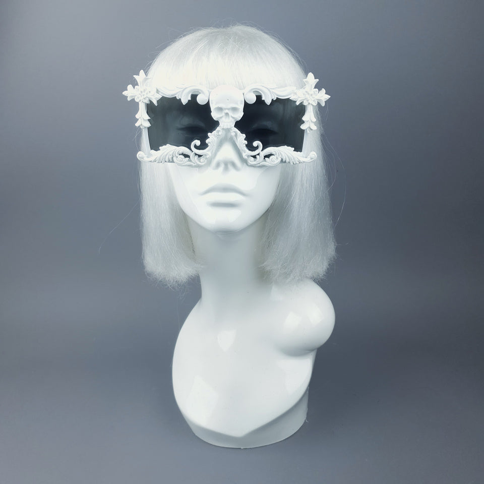 """LaVey"" White Skull Filigree Unisex Sunglasses"