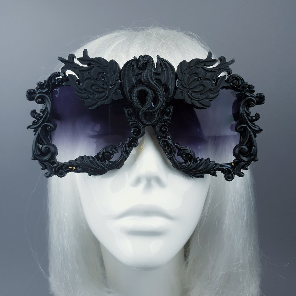 """Draco"" Black Dragon Filigree Unisex Sunglasses"