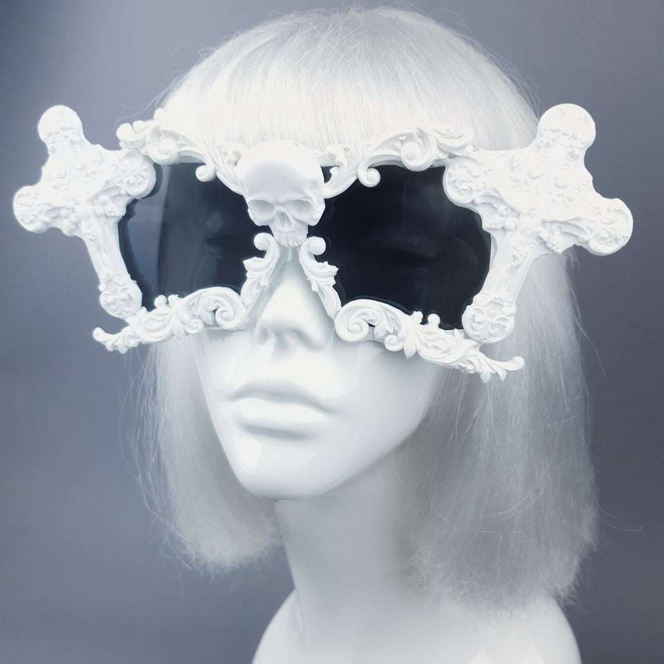 """Tomb"" White Cross Filigree Unisex Sunglasses"