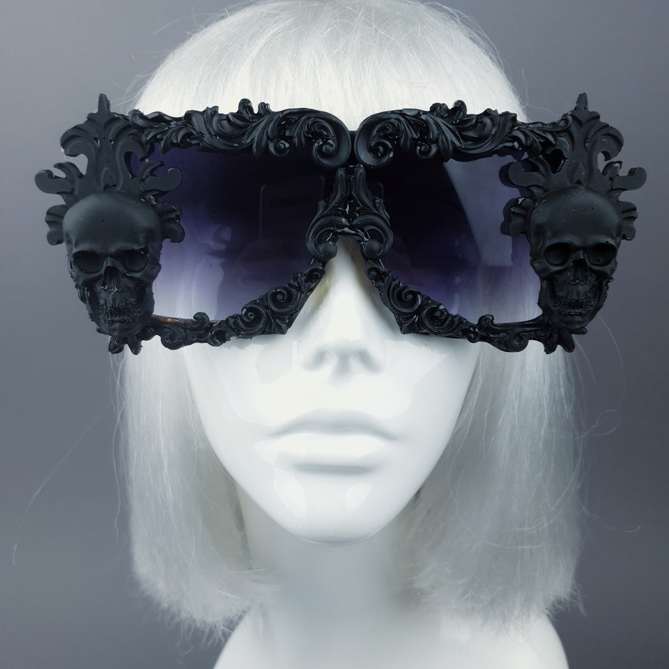 """Infernum"" Black Skull Filigree Unisex Sunglasses"