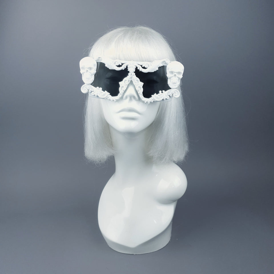 """Galatea"" White Skull Filigree Unisex Sunglasses"