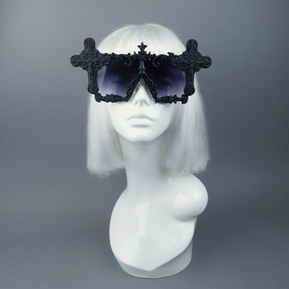 """Ritual"" Black Crosses Filigree Unisex Sunglasses"