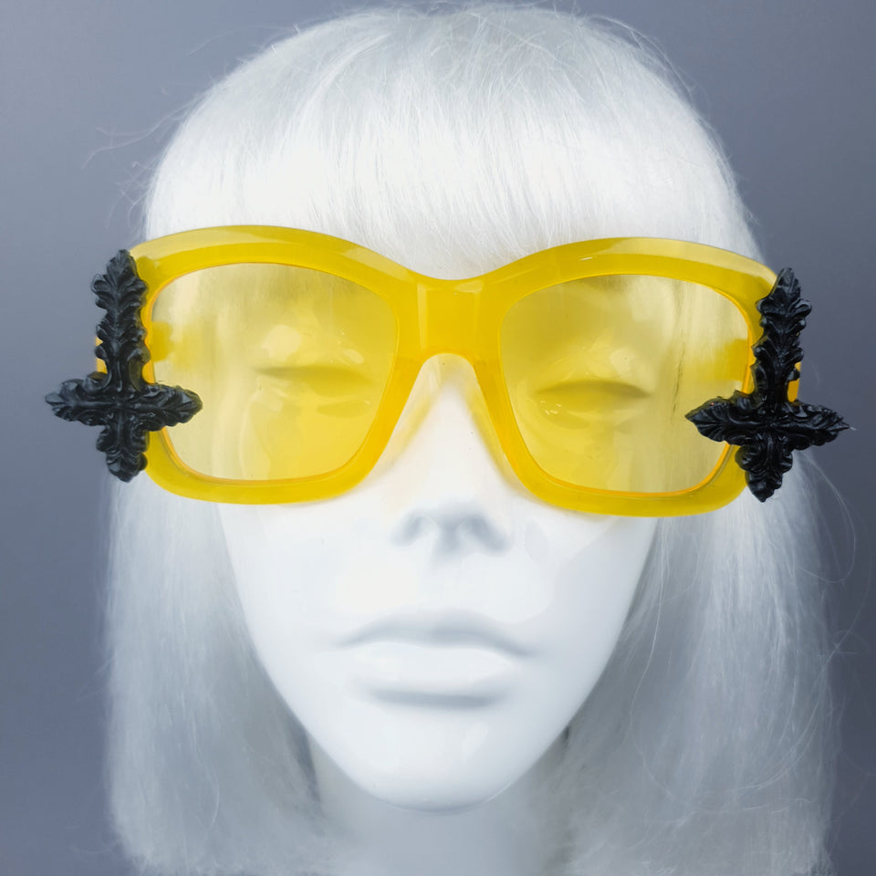 """Ophite"" Yellow Unisex Sunglasses with Black Crosses"