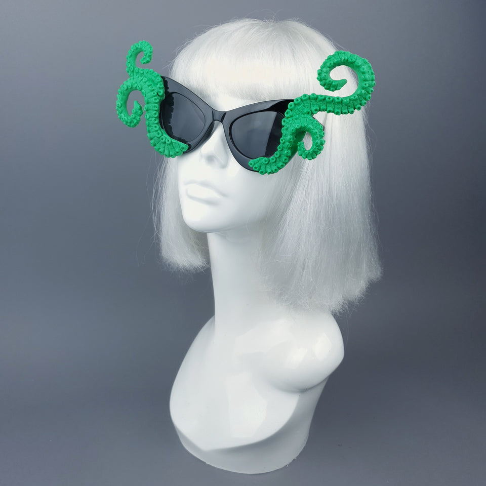 """Ursula"" Green Octopus Kraken Tentacle Sunglasses"