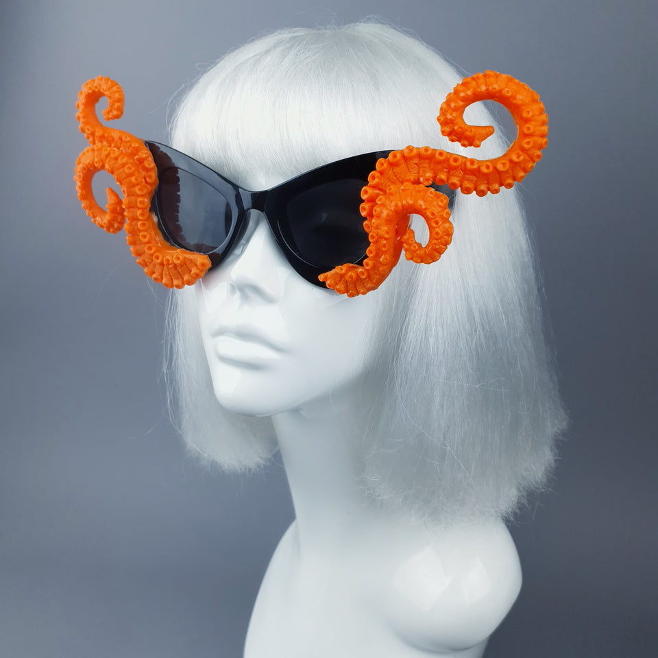 """Ursula"" Orange Octopus Kraken Tentacle Sunglasses"