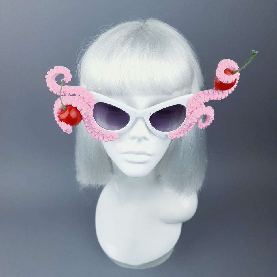 """Ursula"" Pink Octopus Kraken Tentacle with Cherries Sunglasses"