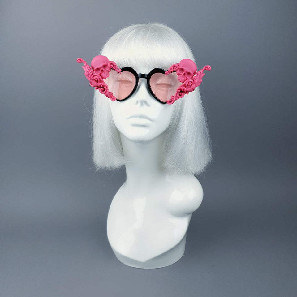 """Amodioa"" Pink Skull & Filigree Heart Shaped Sunglasses"