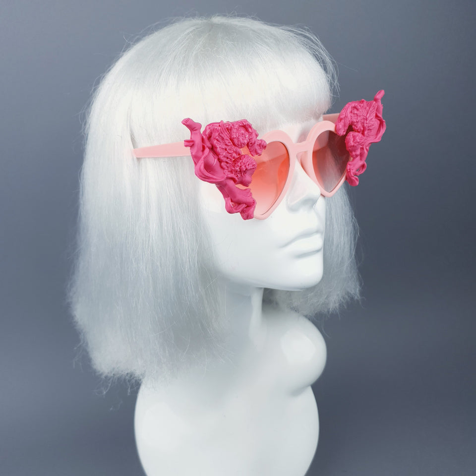 """Luxure"" Pink Cherub & Filigree Heart Shaped Sunglasses"