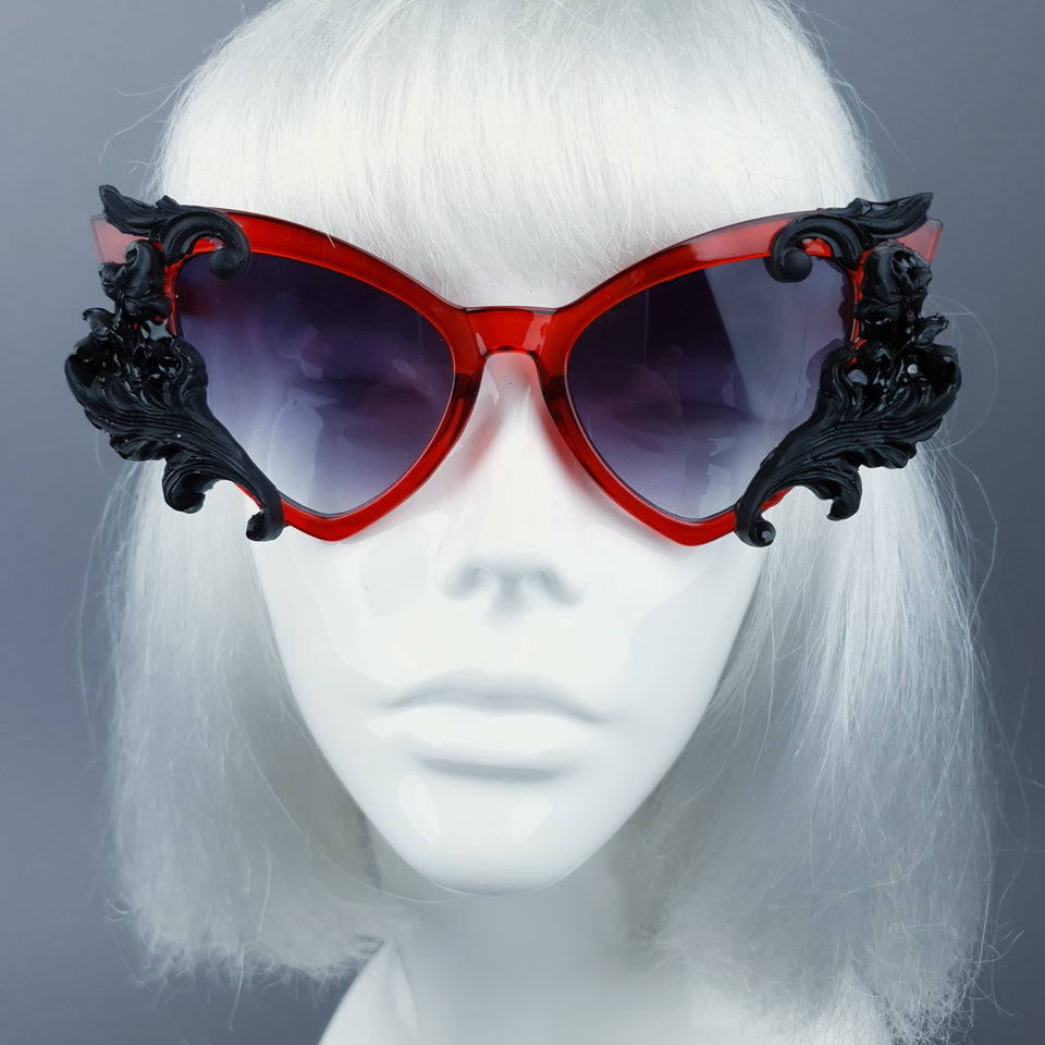 """Vampyr"" Red & Black Filigree Catseye Sunglasses"