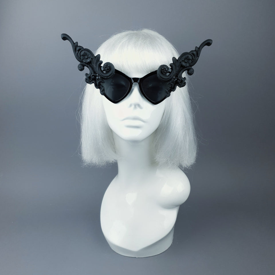 """Bizia"" OTT Statement Black Filigree Catseye Sunglasses"