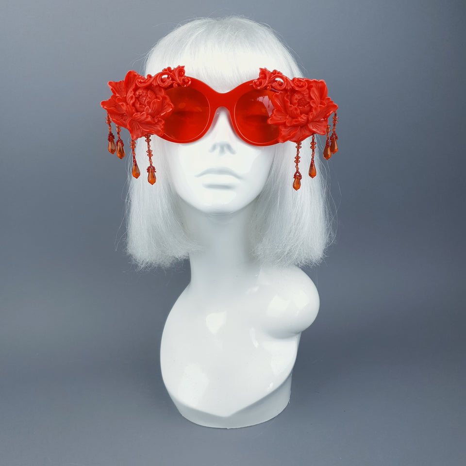 """Paeonia"" OTT Statement Red Peony Filigree & Beading Sunglasses"