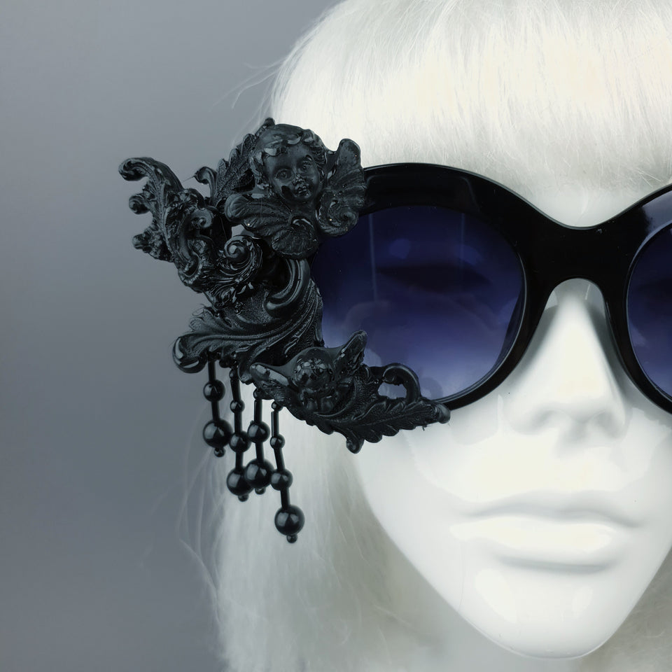 """Volupta"" OTT Statement Black Cherub Filigree & Beading Sunglasses"