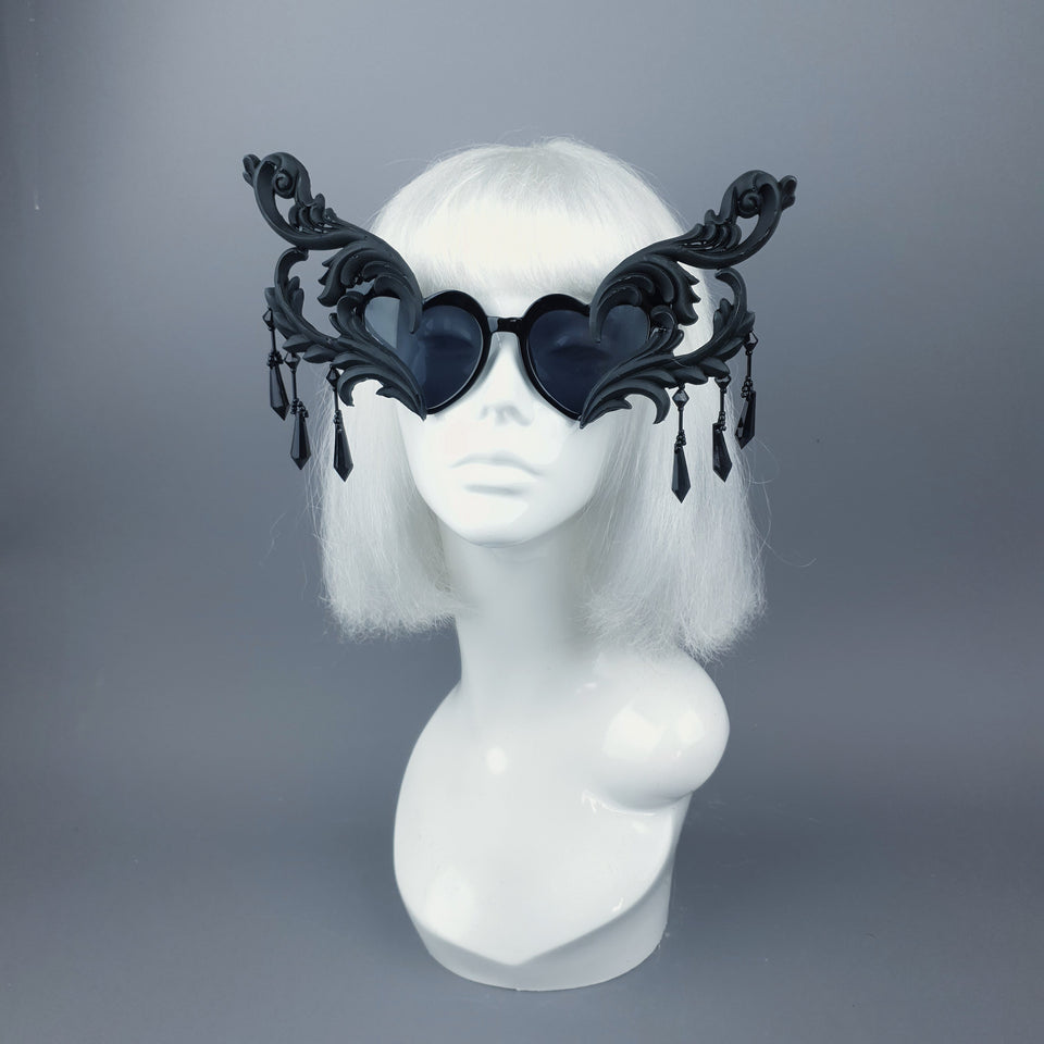 """Novela"" OTT Statement Black Heart Filigree & Beading Sunglasses"