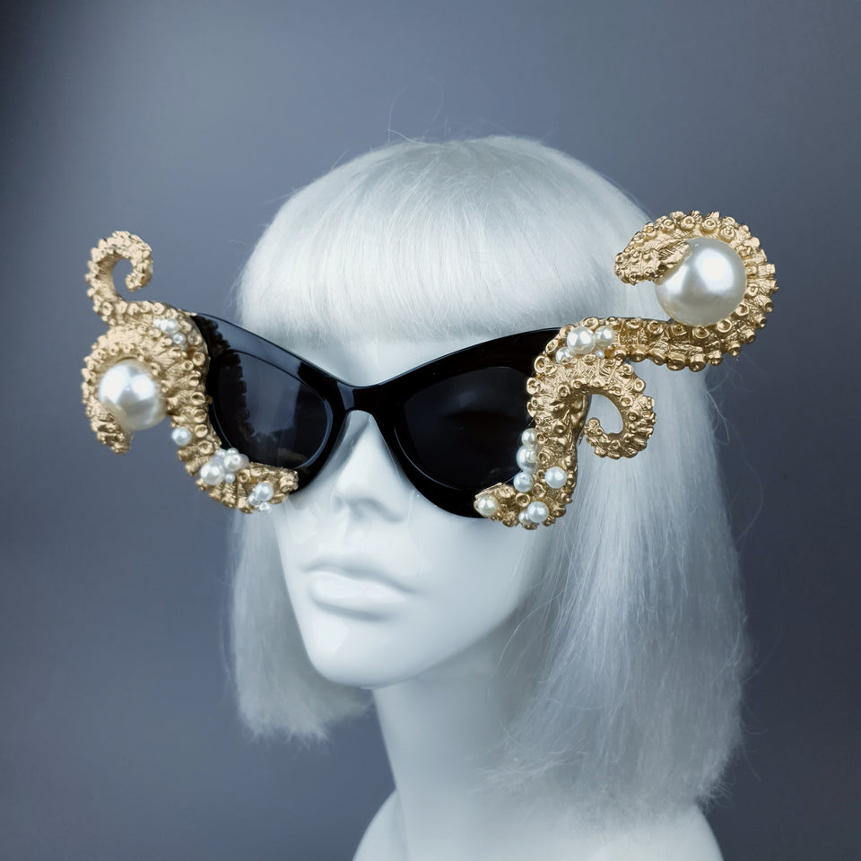 """Ursula"" Gold & Pearl Octopus Kraken Tentacle Sunglasses"
