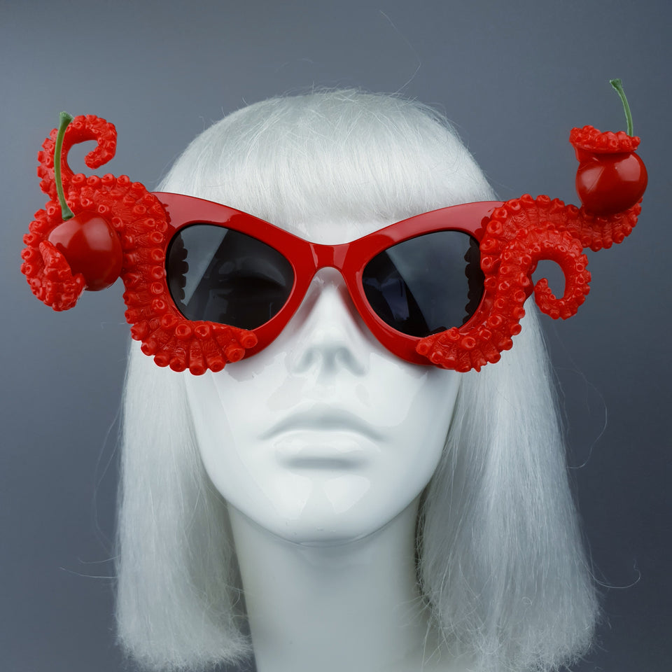 """Ursula"" Red Octopus Kraken Tentacle & Cherry Sunglasses"