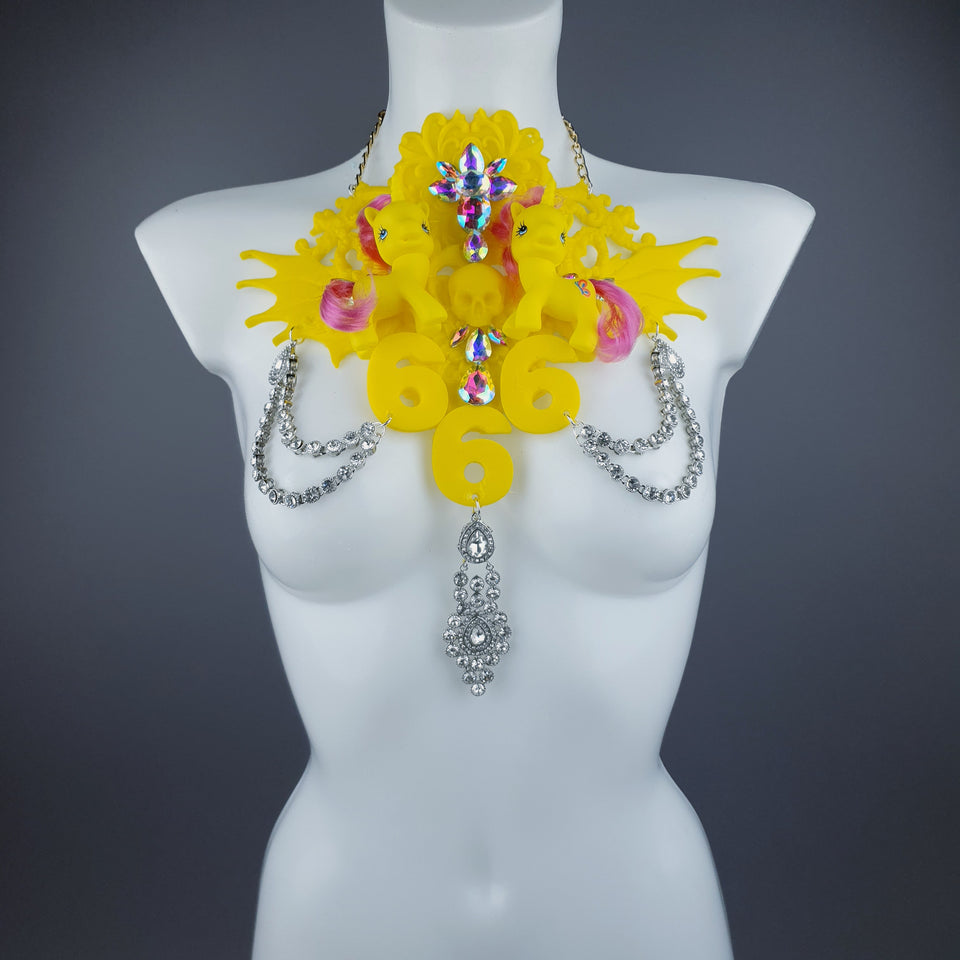 """Kino"" Yellow Pony & Filigree 666 Neckpiece"