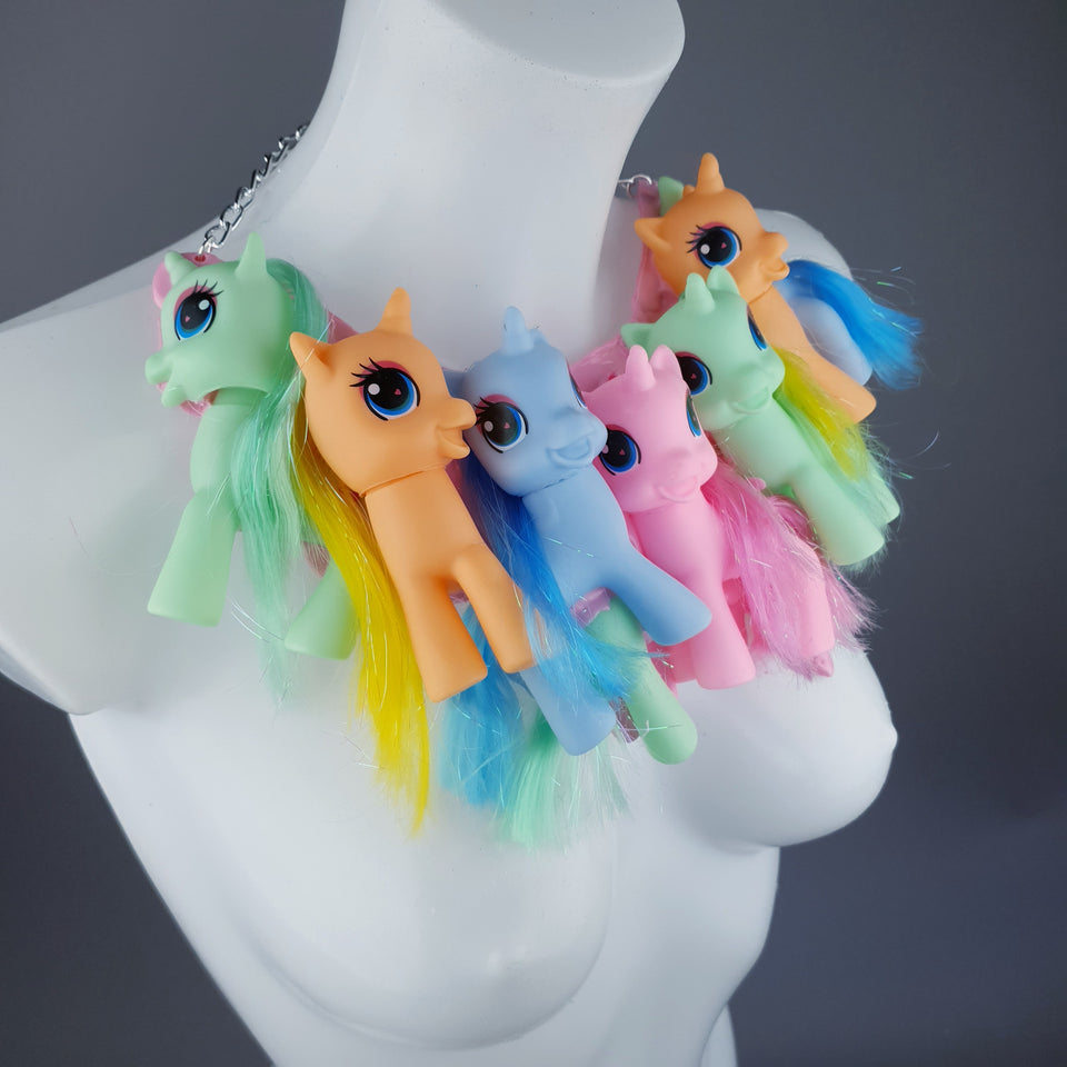 """Jelly Fluff"" Colourful Ponies Pink Pudding Neckpiece"