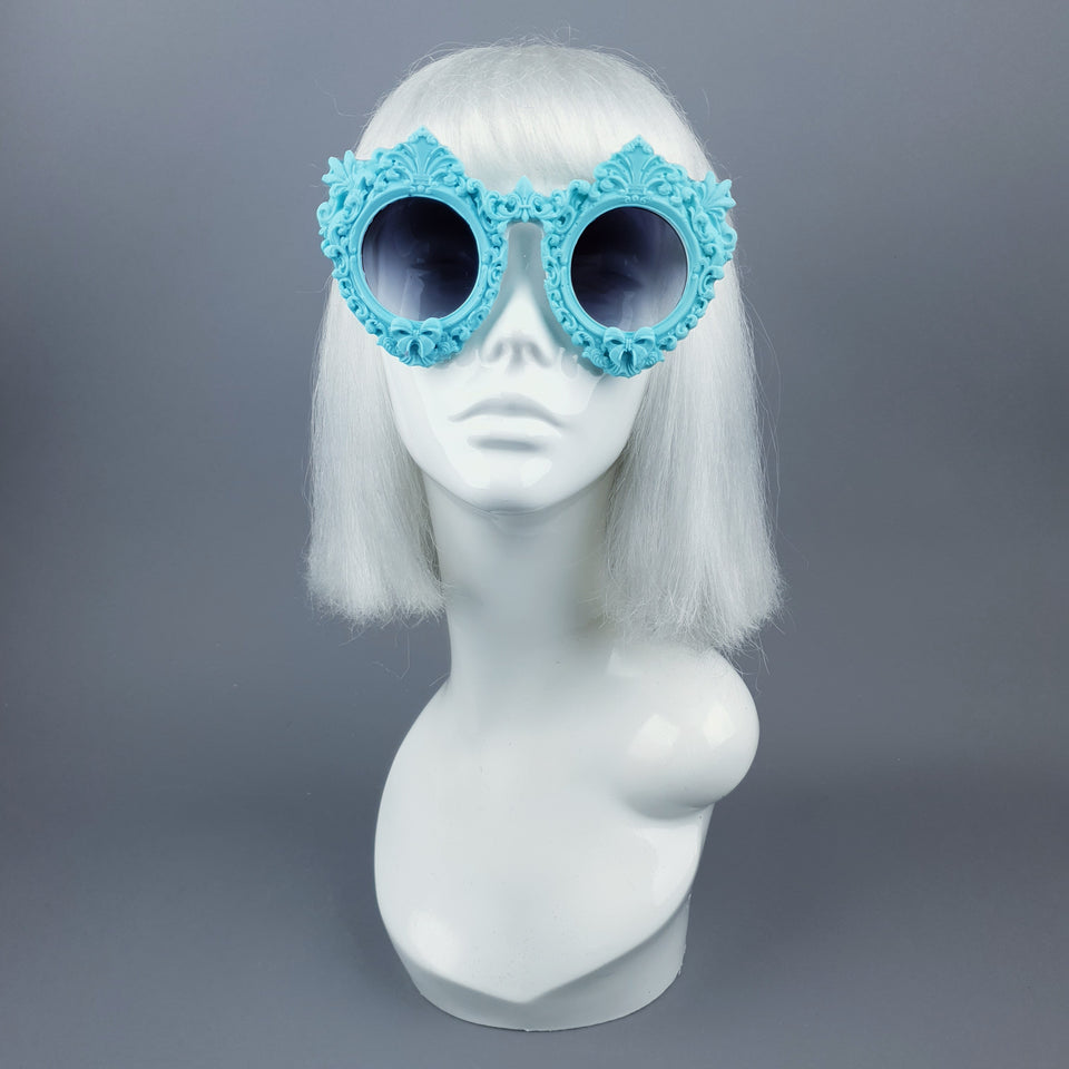 """Periwinkle"" Pastel Blue Filigree Sunglasses"