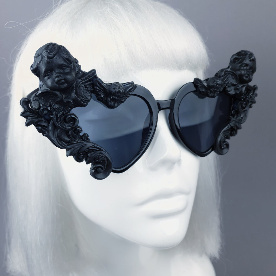 """Altar"" Black Filigree Cherub Heart Shaped Sunglasses"