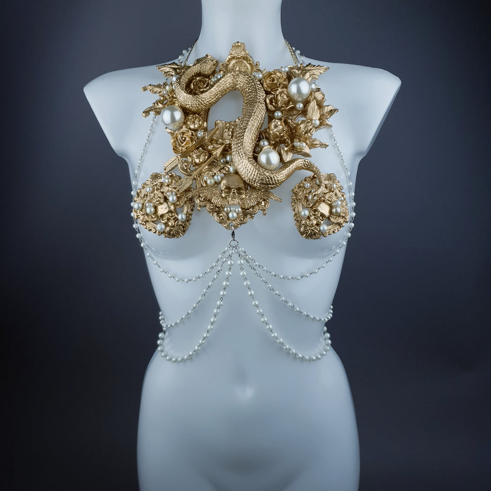 """Manasa"" Gold Snake, Rose & Pearl Harness Body Jewellery & Pasties."